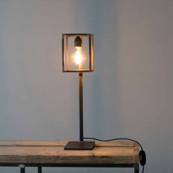 Lampada da Tavolo in Ferro Nero con Cavo in Cotone Made in Italy - Unico