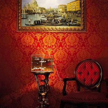 Lampada da tavolo in legno di briccola di Venezia e vetro Cà d'oro
