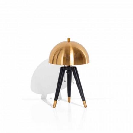Lampada da Tavolo in Metallo Nero e Ottone Spazzolato Made in Italy - Peter