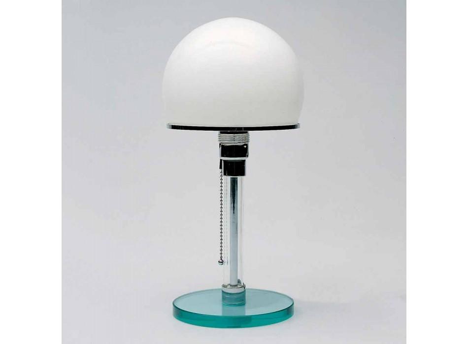 Lampada da Tavolo in Vetro con Paralume in Opalina Made in Italy - Dacca