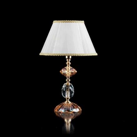 Lampada da tavolo in vetro e cristallo Belle, made in Italy