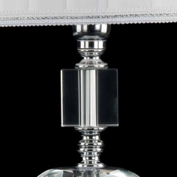 Lampada da tavolo in vetro trasparente e cristallo Ivy, made in Italy