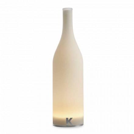 Lampada da Tavolo Led in Vetro Satinato Bianco Design Moderno - Bottiglia