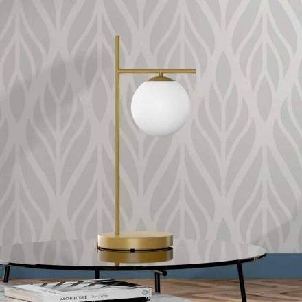 Lampada da Tavolo Moderna in Finitura Ottone e Vetro Made in Italy - Carima