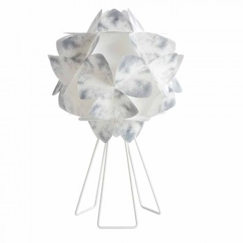 Lampada da tavolo moderna in metallo bianco, diametro 46 cm,Kaly