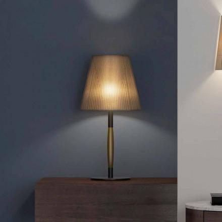 Lampada da Tavolo Moderna in Metallo, Legno e Organza Made in Italy - Boom