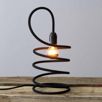 Lampada da Tavolo Moderna in Rame Rivestito in Cotone Made in Italy - Fusilla