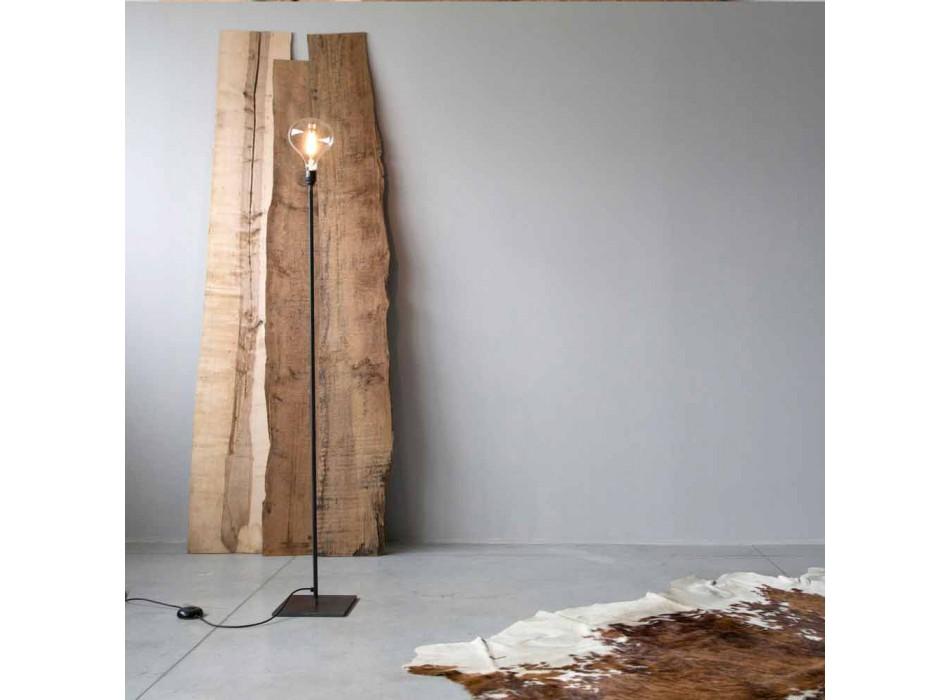 Lampada da Terra Artigianale con Struttura in Ferro Nero Made in Italy - Simple