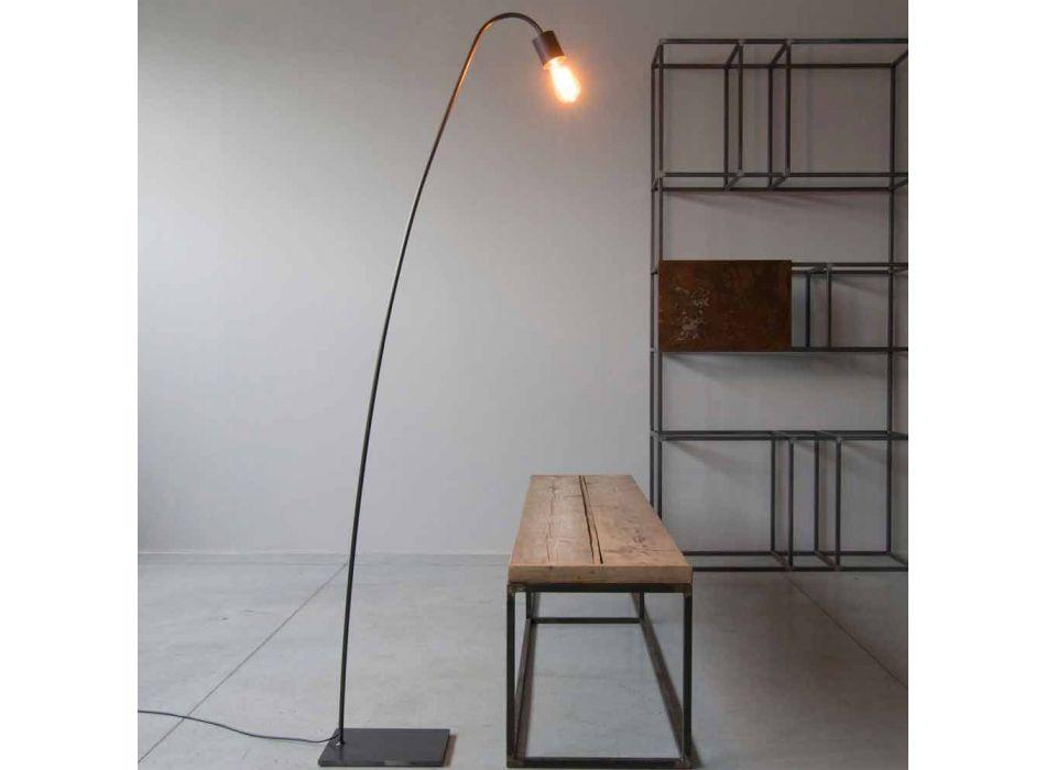 Lampada da Terra Artigianale di Design in Ferro Nero Made in Italy - Curva