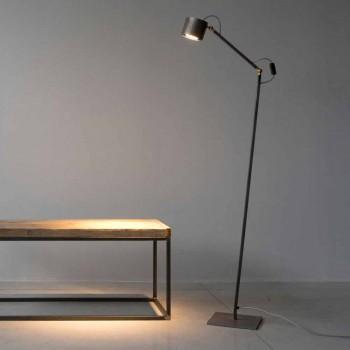 Lampada da Terra Artigianale in Ferro Acidato Chiaro Made in Italy - Vanda