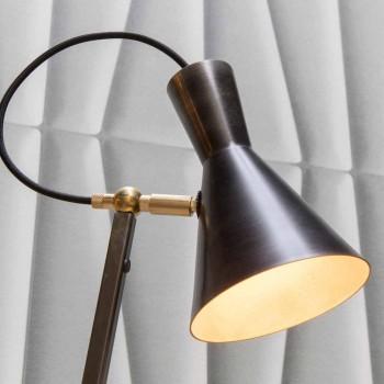 Lampada da Terra Artigianale in Ferro Nero e Alluminio Made in Italy - Brema