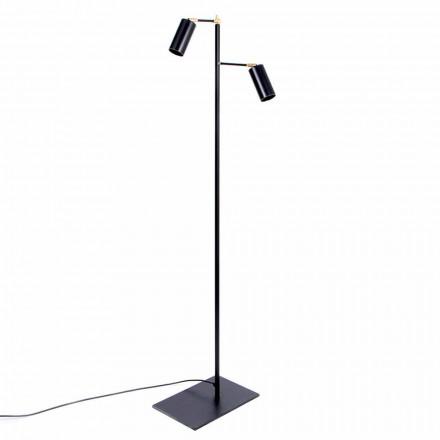 Lampada da Terra Artigianale Nera con Dettagli in Ottone Made in Italy - Asterix