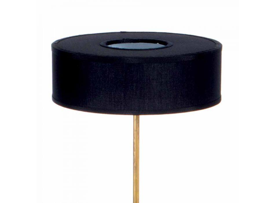Lampada da Terra con Paralume in Lino Nero Artigianale Made in Italy - Aurelia