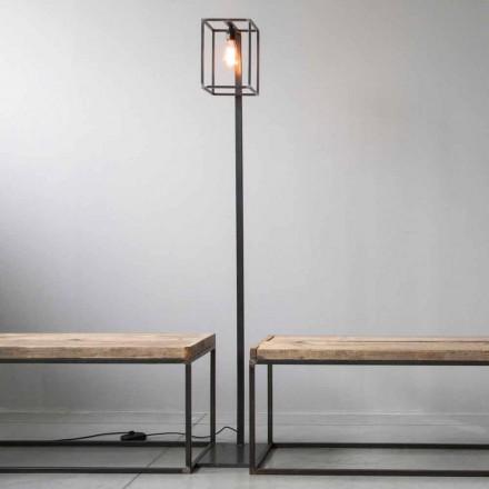 Lampada da Terra con Struttura in Ferro Nero Artigianale Made in Italy - Cubola