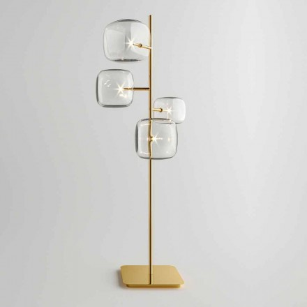 Lampada da Terra Design con Struttura in Metallo Lucido Made in Italy - Donatina
