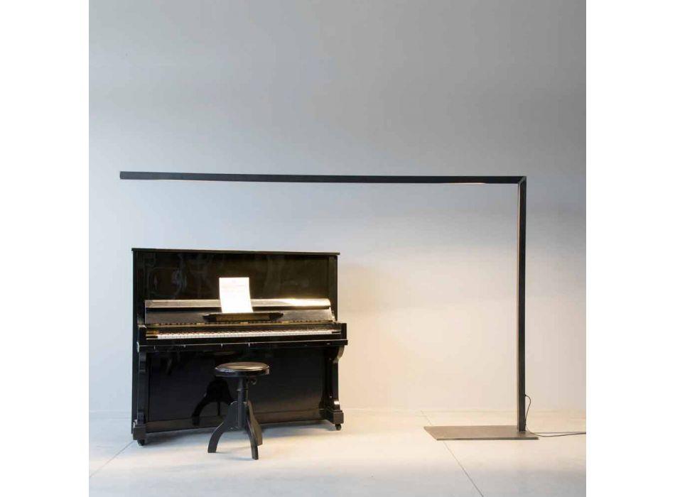 Lampada da Terra di Design in Ferro Nero con Barra LED Made in Italy - Barra