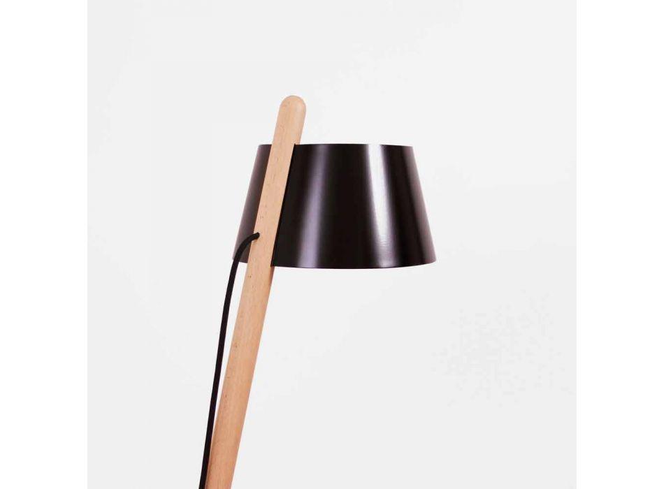 Lampada da Terra di Design in Legno di Faggio e Metallo Laccato - Avetta