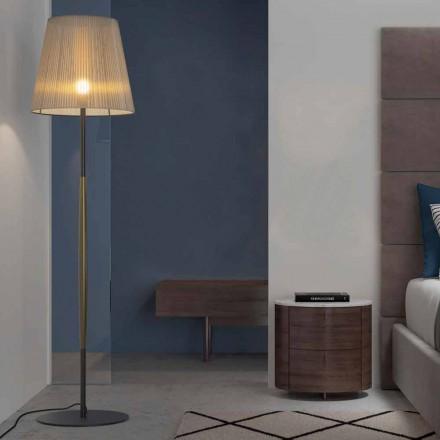 Lampada da Terra di Design in Metallo, Legno e Organza Made in Italy - Boom