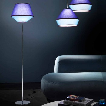 Lampada da Terra in Metallo Cromato con Paralume in Tessuto Made in Italy - Soya