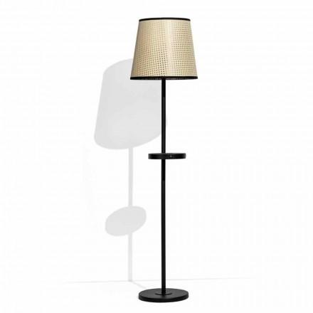 Lampada da Terra in Metallo Nero e Rattan con Mensola Made in Italy - Livia