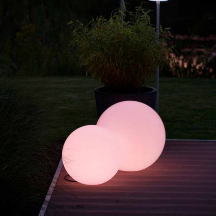 Lampada da Terra Led Multicolore in polietilene Bianca, Design Tondo - Globostar
