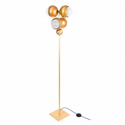 Lampada da Terra Moderna Artigianale in Ottone e Vetro Made in Italy - Gandia