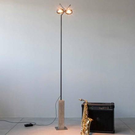 Lampada da Terra in Ferro con Base in Cemento Made in Italy - Occhiolino