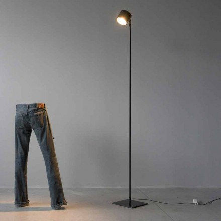 Lampada da Terra Minimale in Ferro e Alluminio Nero Made in Italy - Osiride