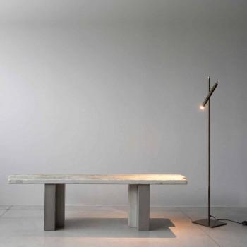 Lampada da Terra Moderna in Ferro Finitura Oro Materico Made in Italy - Ginia