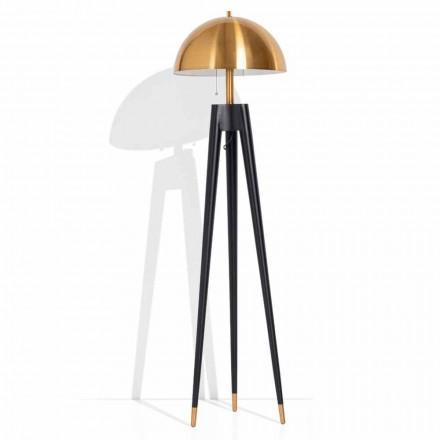 Lampada da Terra Moderna in Metallo e Ottone Spazzolato Made in Italy - Peter