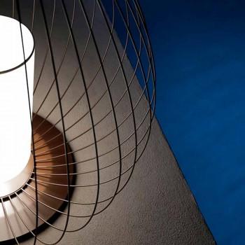 Lampada da Terra o da Appoggio in Filo Metallico Bianco o Bronzo - Lanterna