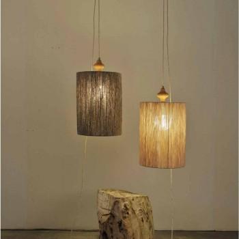Lampada da terra/sospensione in legno e lana colore sabbia Bois