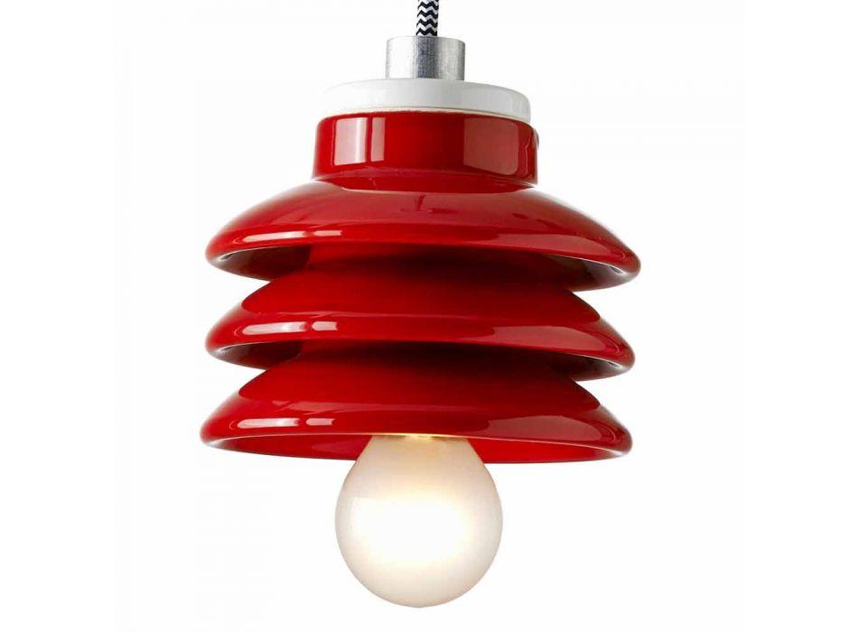 Lampada di design a sospensione in ceramica rosso made in Italy Asia