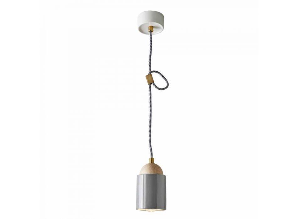 Lampada di design a sospensione in legno e ceramica made in Italy Asia
