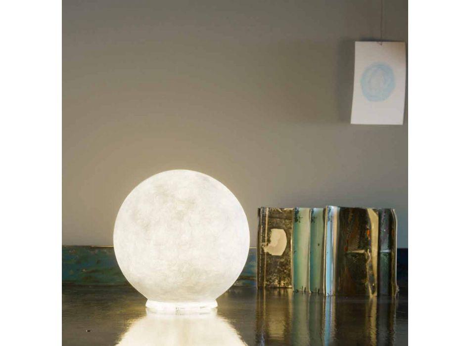 Lampada di design da tavolo In-es.artdesign T.moon in bianca nebulite