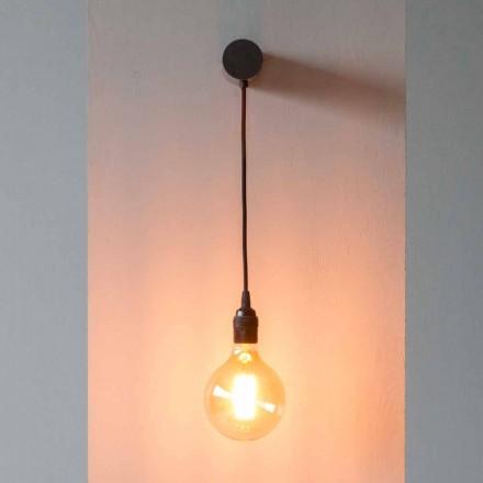 Lampada di Design in Ferro Nero con Cavo in Cotone Made in Italy - Cladia