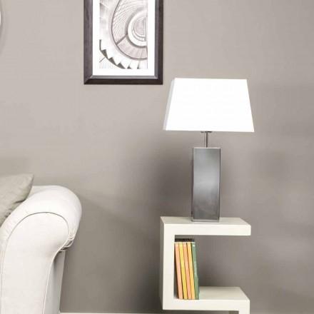 Lampada di design moderno da tavolo in acciaio e paralume bianco Renna