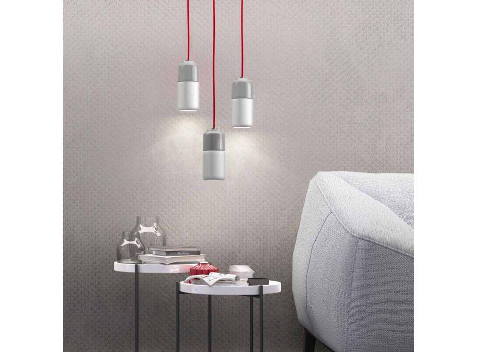 Lampada di design sospesa in ceramica e alluminio made in Italy Asia