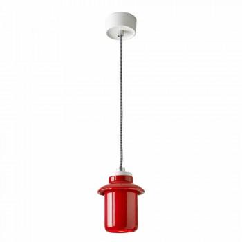 Lampada di design sospesa in ceramica rossa fatta in Italia Asia