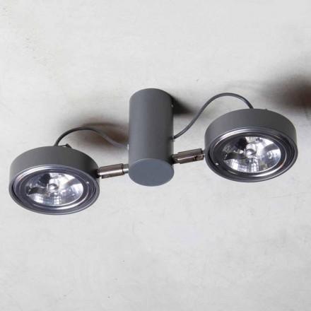 Lampada in Alluminio con 2 Luci Orientabili Fatta a Mano Made in Italy - Gemina