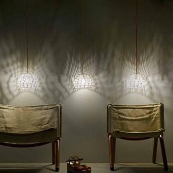 Lampada in cotone e viscosa sospesa In-es.artdesign Trama moderna