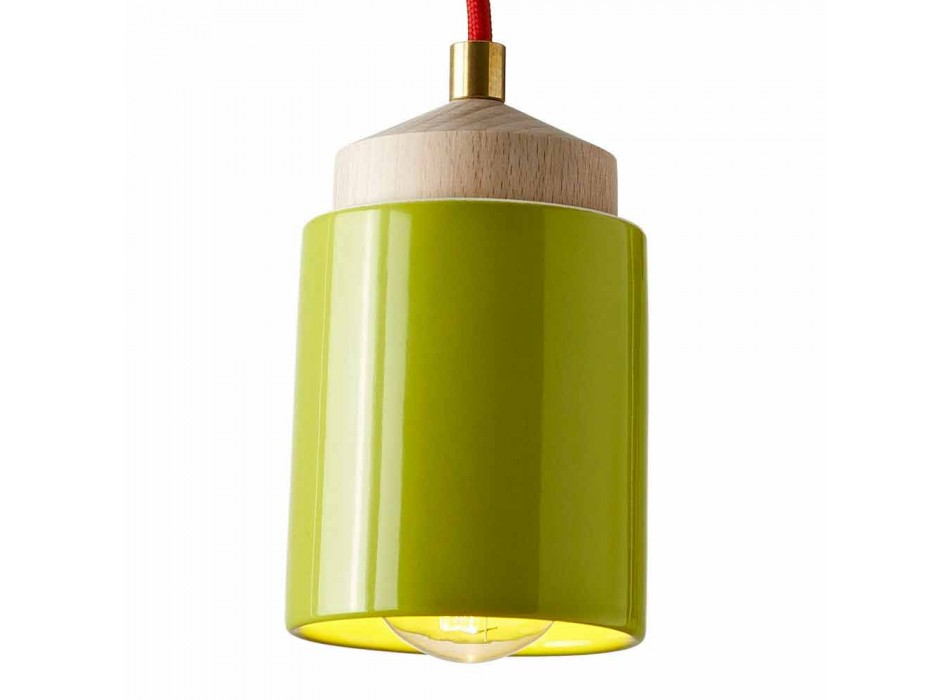 Lampada in legno di faggio e ceramica sospesa fatta in Italia Asia