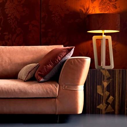 Lampada in legno laccato massiccio da tavolo Grilli Barnaby made Italy