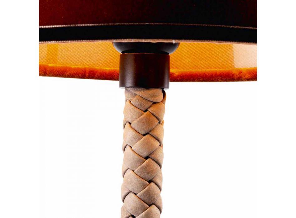 Lampada in tessuto e pelle da tavolo Grilli Snake fatta in Italia