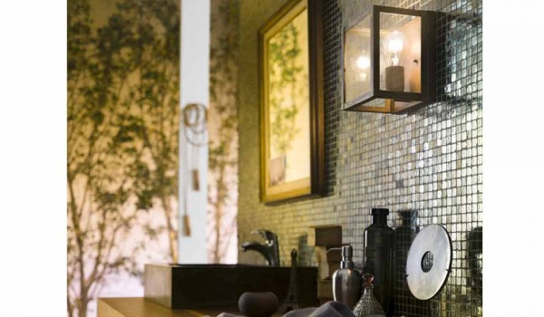 Lampada industriale da parete in ottone e vetro quadro il fanale