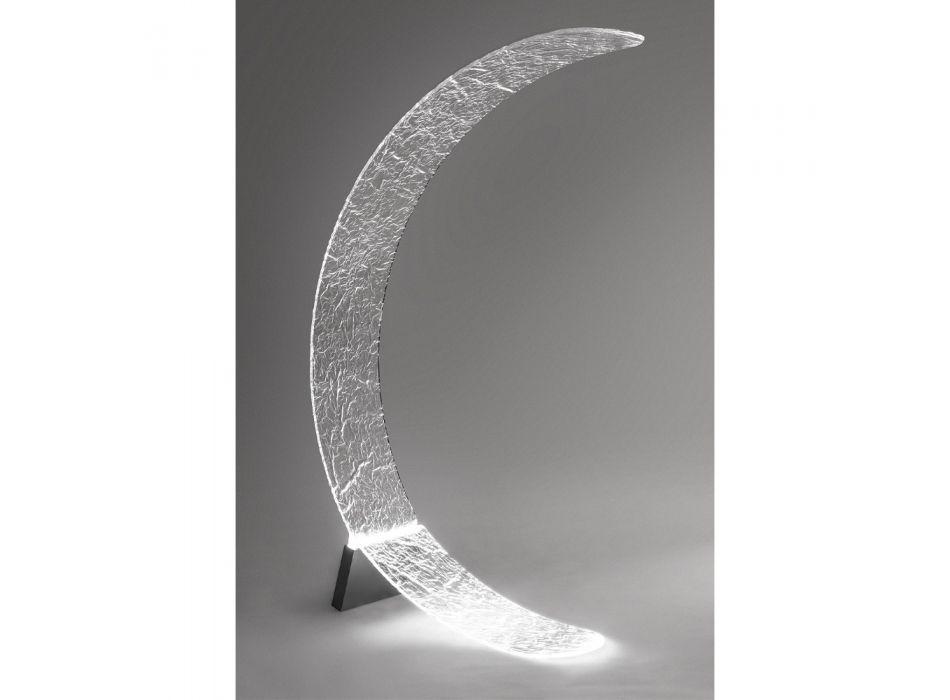 Lampada Led da Terra Forma a Luna Plexiglass Trasparente Decorato - Olluna