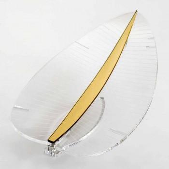 Lampada Led in Plexiglass Trasparente Oro Argento o Legno di Design - Foglialamp
