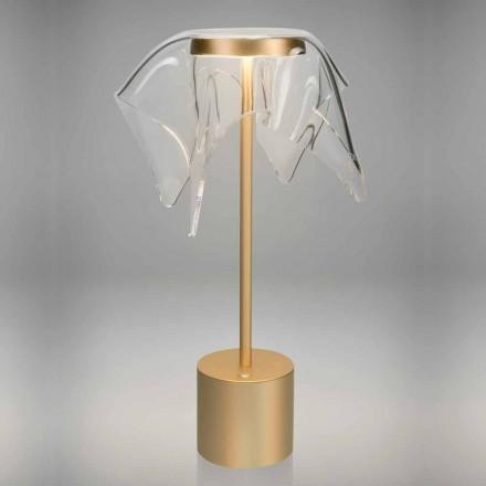 Lampada LED Touch in Metallo Colorato e Plexiglass Trasparente - Tagalong
