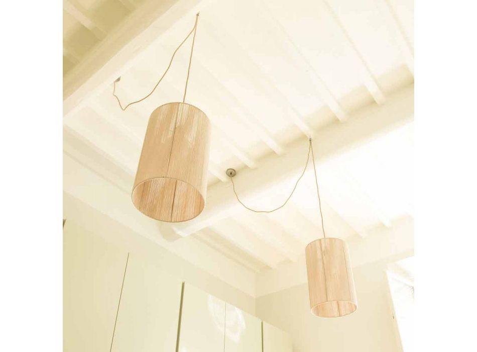 Lampada moderna a sospensione in lana realizzata in Italia Evita