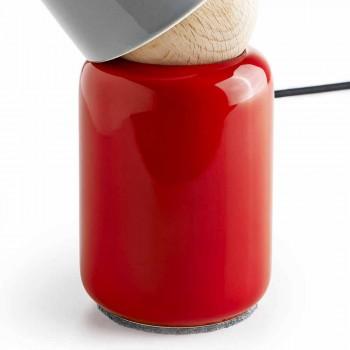 Lampada moderna da tavolo ceramica e legno di faggio made Italy Asia